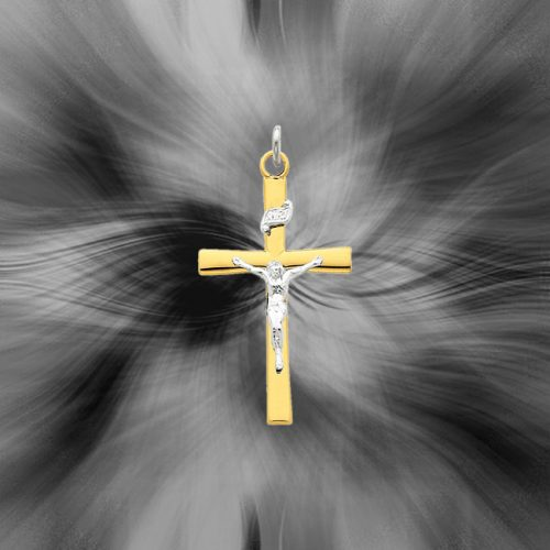 Quality Sterling Silver with 18K Gold-Plated Crucifix Pendant QC5427