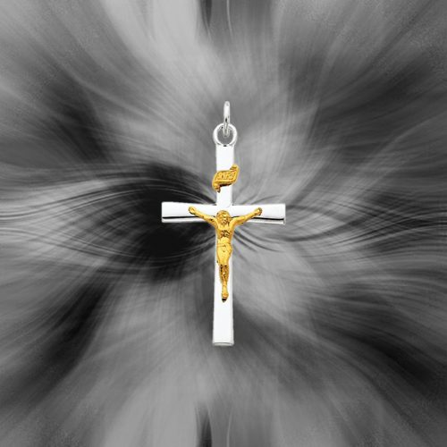 Quality Sterling Silver with 18K Gold Plated Crucifix Pendant QC5428