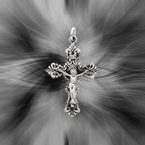 Quality Sterling Silver Antiqued INRI Crucifix Pendant QC5442