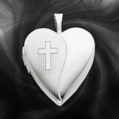 Quality Sterling Silver Heart Lockets (Cross Design) QLS228