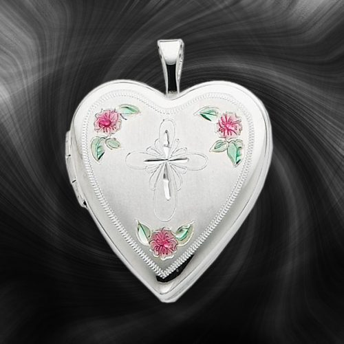 Quality Sterling Silver Heart Lockets (Enamel and Cross Design) QLS229