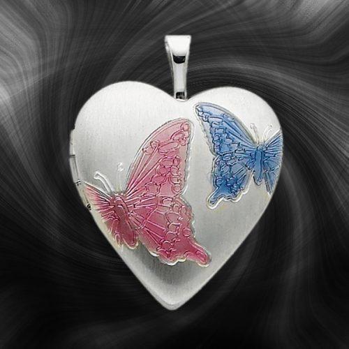 Quality Sterling Silver Heart Lockets (Enameled Butterflies) QLS230