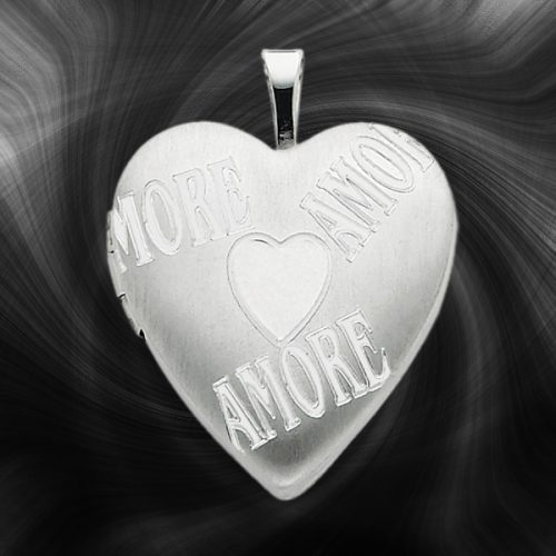 Quality Sterling Silver Heart Lockets (Amore Design) QLS231