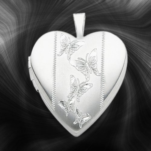 Quality Sterling Silver Heart Lockets (Butterfiles) QLS234
