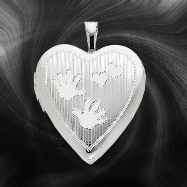 Quality Sterling Silver Heart Lockets (Handprints and Hearts) QLS235