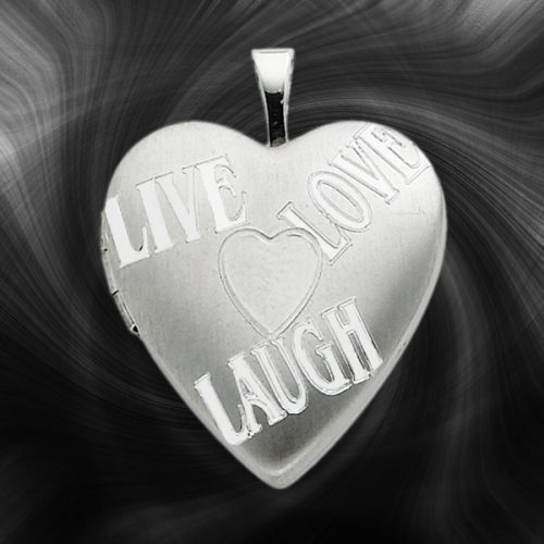 Quality Sterling Silver Heart Lockets (Live, Love, Laugh) QLS238