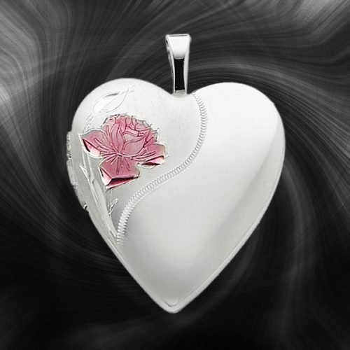 Quality Sterling Silver Heart Lockets (Enameled Rose) QLS240