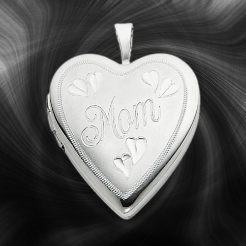 Quality Sterling Silver Heart Lockets (Mom and Hearts) QLS241