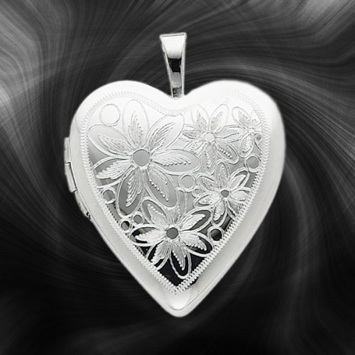 Quality Sterling Silver Heart Lockets (Flowers - Daisies) QLS242