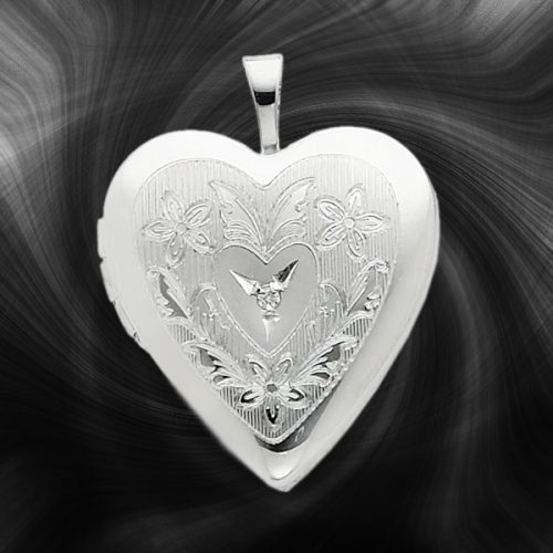 Quality Sterling Silver Heart Lockets (Hearts and Diamond) QLS243