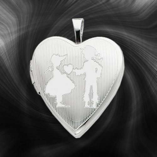 Quality Sterling Silver Heart Lockets (Boy and Girl) QLS246