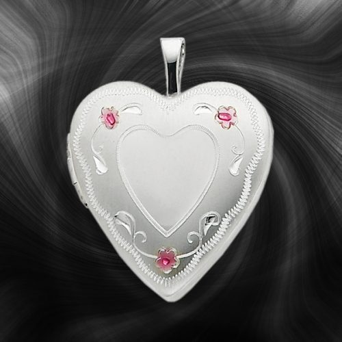 Quality Sterling Silver Heart Lockets (Enameled Roses) QLS249