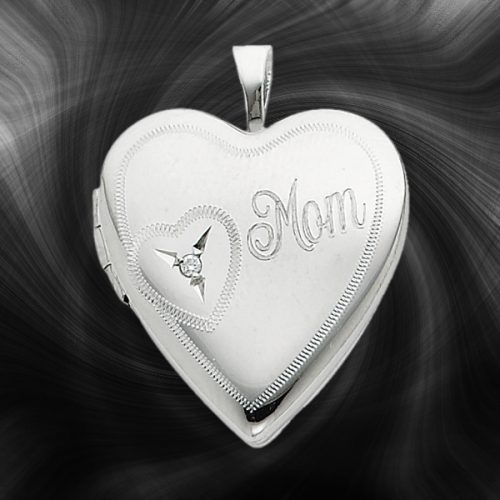 Quality Sterling Silver Heart Lockets (Mom With Diamond) QLS250