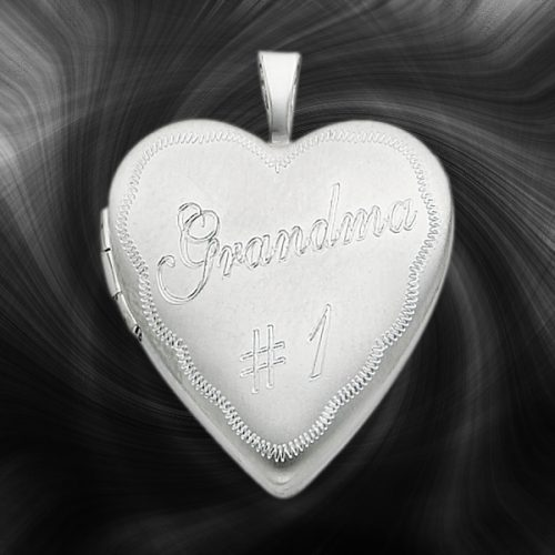 Quality Sterling Silver Heart Lockets (Grandma No. 1) QLS251