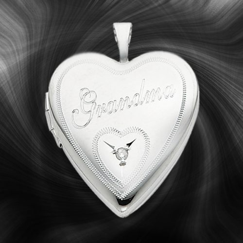 Quality Sterling Silver Heart Lockets (Grandma With Diamond) QLS252
