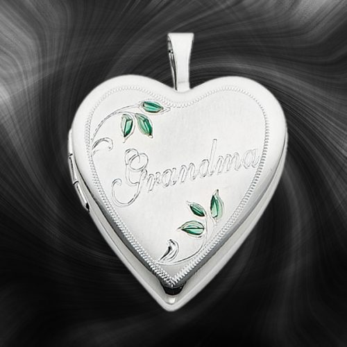 Quality Sterling Silver Heart Lockets (Enameled Leaves and Grandma) QLS253