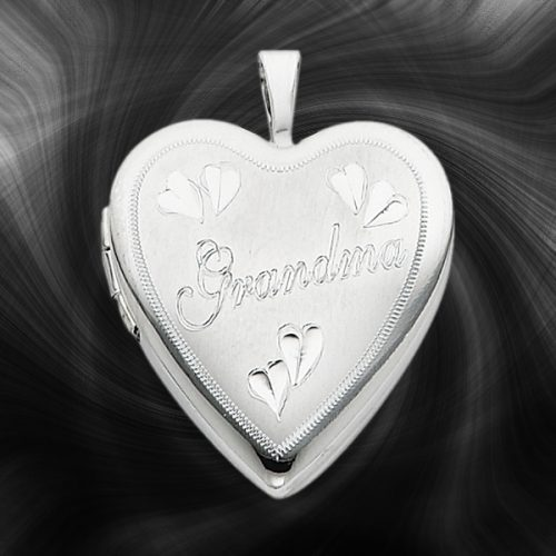 Quality Sterling Silver Heart Lockets (Grandma with Hearts) QLS254