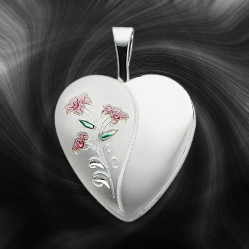 Quality Sterling Silver Heart Lockets (Enameled) QLS255