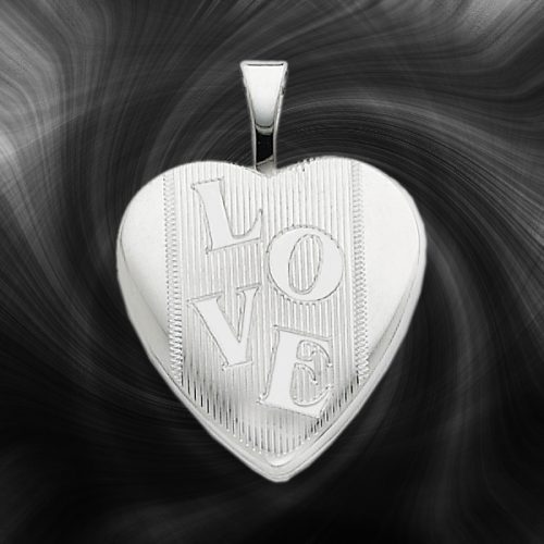Quality Sterling Silver Heart Lockets (Love Design) QLS259