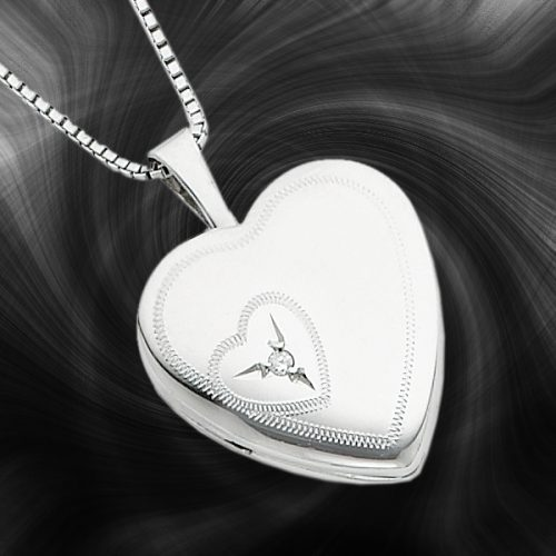 Quality Sterling Silver Heart Lockets (With Diamond) QLS260