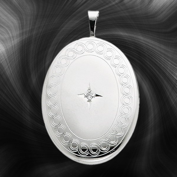 Quality Sterling Silver Oval Lockets (With Diamond) QLS263