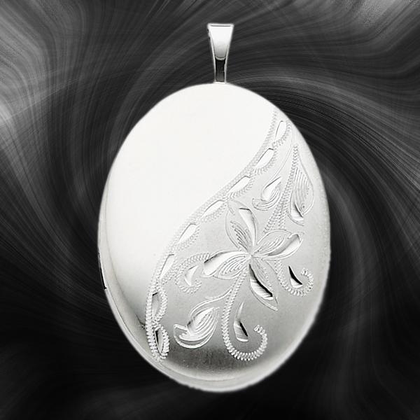 Quality Sterling Silver Oval Lockets (Side Flower Design) QLS267