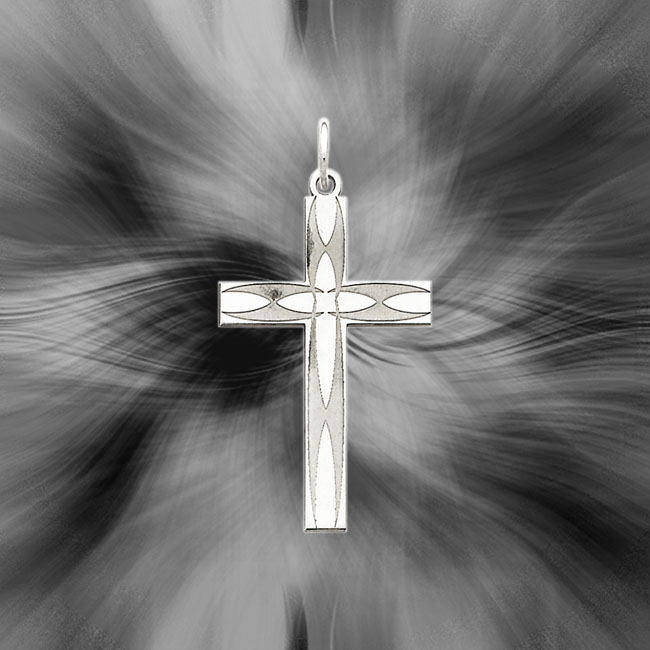 Quality Sterling Silver Laser Designed Cross Pendant QXR157