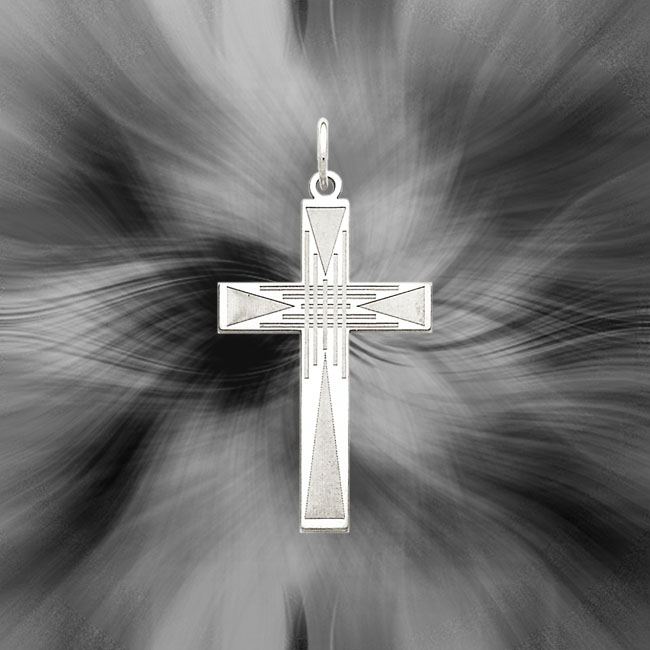 Quality Sterling Silver Laser Designed Cross Pendant QXR172