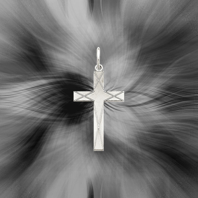 Quality Sterling Silver Laser Designed Cross Pendant QXR174