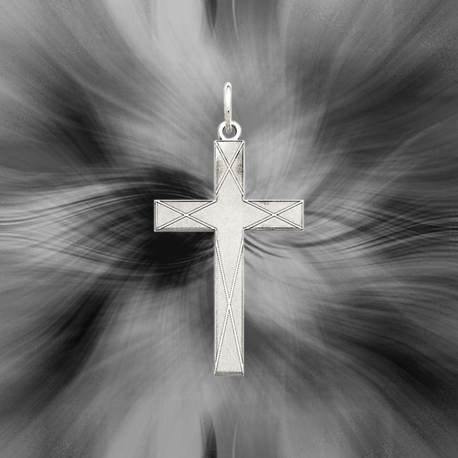 Quality Sterling Silver Laser Designed Cross Pendant QXR175