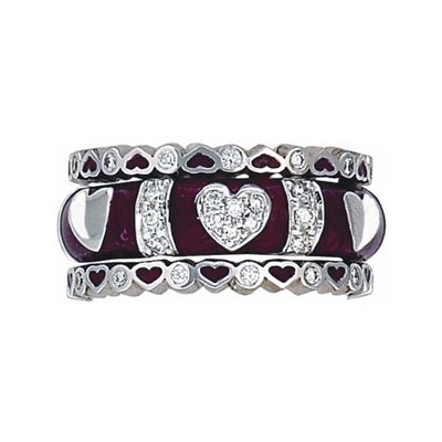 Hidalgo Stackable Rings Heart Collection Set  (RB5076 & RS6621)