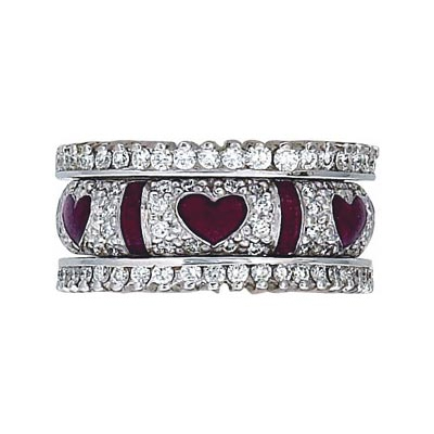 Hidalgo Stackable Rings Heart Collection Set  (RS6328 & RS6627)
