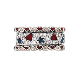 Hidalgo Stackable Rings Heart Collection Set  (RS7232 & RS6671)